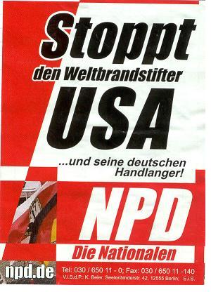 Stoppt die Weltbrandstifter USA ...und seine Handlanger! NDP - Die Nationalen
